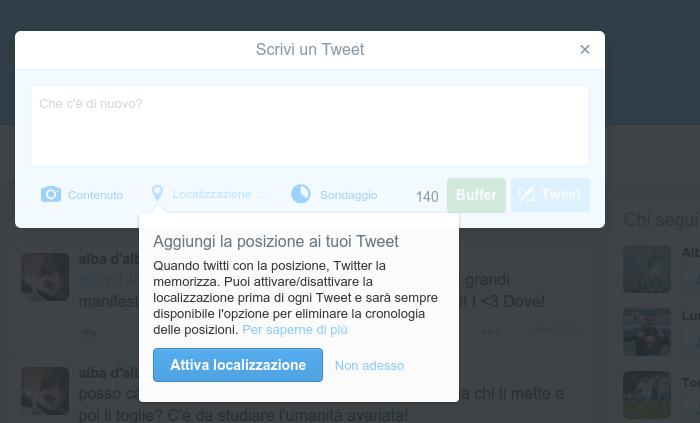 Trovare clienti su Twitter - localizzazione post