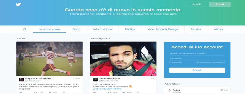nuova homepage twitter