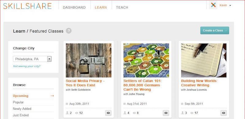 Skillshare siti e-learning