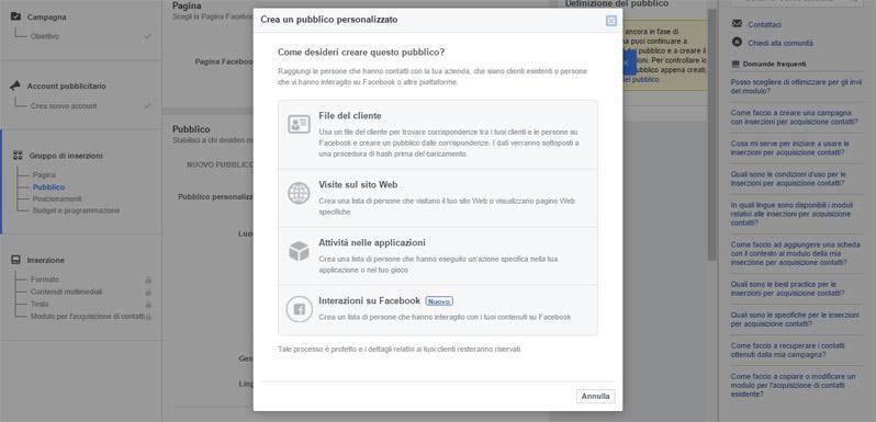 creazione facebook pixel