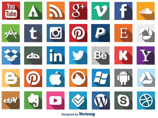 Long Shadow Social Media Buttons