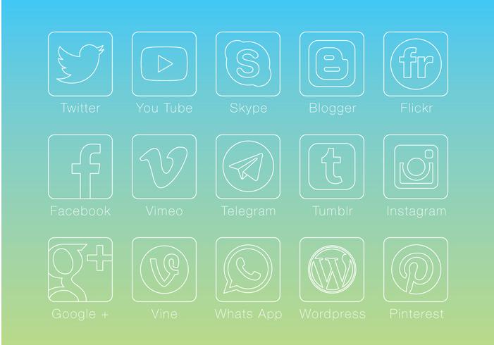 Thin Linear Social Media Buttons