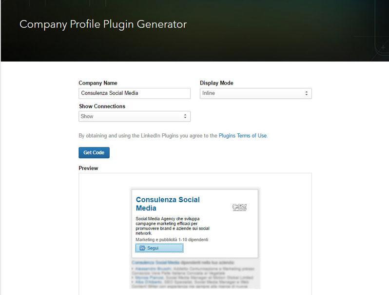 company profile plugin