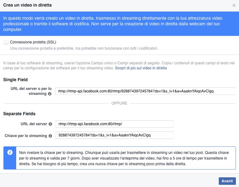 diretta facebook da desktop