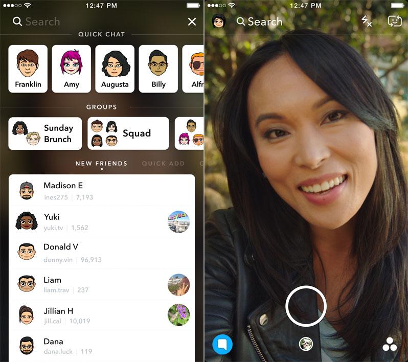 Snapchat barra di ricerca universale
