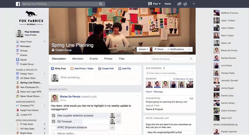 Facebook Workplace interfaccia